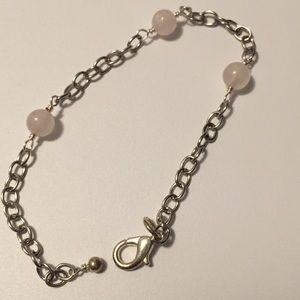 [NEW] Pink quartz bead silver bracelet